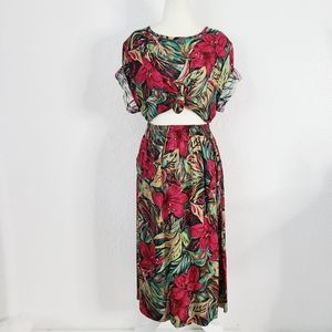 80-90s Vintage Hawaiian Cottage Core Skirt Top Set